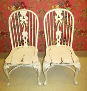 Ethan Allen Ivory English Windsor Side Chairs 28 6301 Set Of 2 Hand Distressed