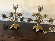 Antique 1890 French Thistles Gilded Bronze Table Lamp