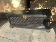Antique Italian Craved Oak Trunk With Brass Ware