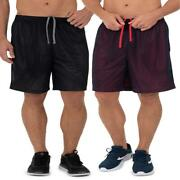 Athletic Works Menand039s 8andrdquo Active Grid Mesh Drawstring Shorts 2-pack