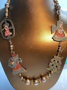 Vintage Enamel Christmas Jewelry Necklace Two Angels Santa And Xmas Tree. Unique.