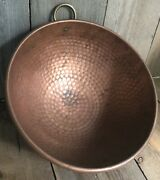 Farmhouse Solid Copper Bowl Wall Art Hammered Shabby Worn Rustic Patina