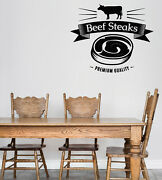 Vinyl Wall Decal Logo For Grilling Barbecue Steak House Cafe N1491