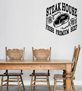 B Vinyl Wall Decal Logo For Grilling Barbecue Beef Steak House Sticker N1493