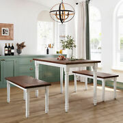 Farmhouse Dining Room Table Set Rustic Wood Kitchen Tables And Benches 3 Piece