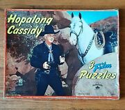 Hopalong Cassidy Puzzles Set Of 3 Tray Puzzles In Box Vintage Milton Bradley