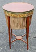 English Regency Mahogany And Satinwood Sewing Stand With Silk Basket C1890