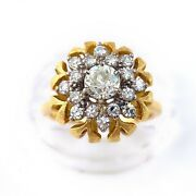 Antique Old Mine Cut Floral Diamond Ring 0.85 Tcw In 18k Yellow Gold