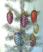Vintage Pinecone Ornaments Glass Glitter Made In Poland Set Of 2 Boxes Sears