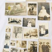 Lot Of 38 Antique Photos Black And White Cars, Men, Women And Children Photographs