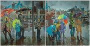 Diptych Streetlight People Road Unique Painting Original Russian Oil Painting