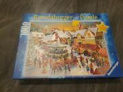 Roy Trower The Christmas Market 1000 Pc Puzzle Used Bagged Ravensburger 27x20