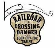 Railroad Crossing 24 Heavy Duty Usa Made Metal Double Sided Mount Warning Sign