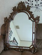 Large Wooden Wall Mirror Carved 54x39
