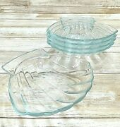 Five 5 Pyrex France 435 Corning Scallop Shell Glass Dipping Dishes 5.25
