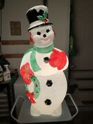 """Vintage Snow Man Blow Mold Wreath General Foam 44"""" Christmas Holiday Works Great"""