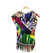 Genuine Gianni Versace Shirt Blouse French Sleeve Multicolor Women Vintage