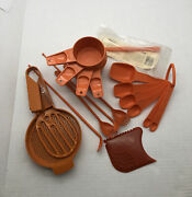 Lot Vtg Tupperware Orange Measuring Cups And Spoons Siftter Ice Tea Spoons Etc.