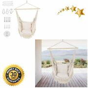 Patio Watcher Oversized Hammock Chair Hanging Rope Swing Seat With 2 Cushions