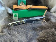 1983 6396 Bowie Knife With Stag Handles Leather Sheath G/y Box Mint Tag A2+