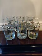 6 Vintage Ned Smith Water Fowl Ducks Beer Tankards And Low Balls Gold Rimmed