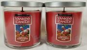 Yankee Candle Christmas Eve Small Tumbler Jars Flat Top 7 Oz Red Lot Of 2