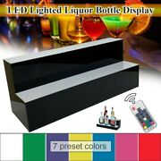 24 Inch 2 Step Led Lighted Liquor Bottle Display With 7 Preset Colors For Party