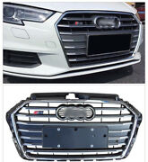For Audi A3 S3 Rs3 2017 - 2020 Black Grille Grill Chrome Strips + Chrme Logo