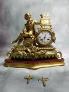 Antique French Painter Gilt-bronze Figural Mantel Clock - Owned