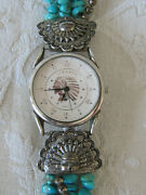Southwest Traditions Liberty 1911 Sterling W/faces And Turquoise Bracelet Watch