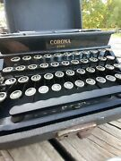Vintage Corona Four Typewriter W/ Carrying Case Ink Reel Lc Smith Usa Works