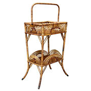 Antique Boho Victorian Rattan Stick And Ball Sewing Plant Stand By Heywood Bro's