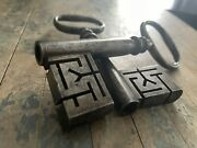 Antique Pair Of Old Wire Bow Skeleton Key Intricate Ornate Bank Vault Prison