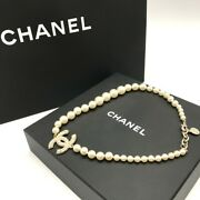 Faux Pearl Necklace Pendant Engraved V Coco Mark Box Present Gift Wom