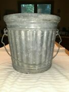 """Rustic Vintage 5 Gallon Galvanized Coal/ash Bucket By Reeves, """"used"""""""