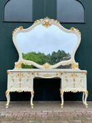 Special Gold/cream Dressing Table Vanity Table In Louis Xvi Style With Details.
