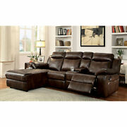 Sectional W Console Living Room Reclining Plush Brown Leatherette Cup Holder