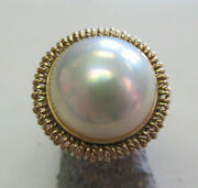 Gorgeous Estate Large Mabe Pearl Ring Great Luster 14k Gold Size 6 Make Offer