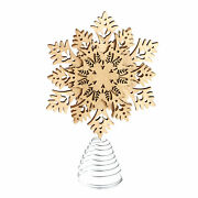 Snowflake Tree Topper - Wooden Christmas Ornament With Lights Carved Look
