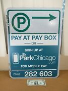 Vintage Pay At Pay Box Metal Chicago Street Sign Green 2-sided Retired 24 X 18
