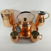 Odi 6 Pc Lot Copper Plated Teapot Pitcher Cookie Canister Cup Mug And Serving Tray