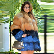 Luxury Real Red Fox Fur Vest Winter Thick Warm Women Natural Fur Jacket Outwear