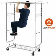 Heavy Duty Commercial Clothing Garment Rack Rolling Collapsible Chrome Us