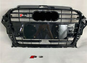 For Audi A3 S3 Rs3 2017 - 2020 Front Bumper Grille Grill Black Strips + Logo Acc