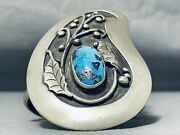 One Of Most Majestic Vintage Navajo Bisbee Turquoise Sterling Silver Bracelet