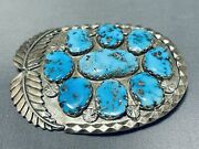 Important Vintage Zuni Sleeping Beauty Turquoise Sterling Silver Pin Signed