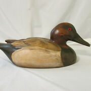 Vintage Tom Tabor 14 Carved Wood Canvasback Duck Decoy Detailed And Signed