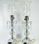 Crystal Hurricane Electric Candle Lamp Pair, Etched Globes, 20 Tall - Antique ✅