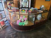 Antique Curved Glass Display Case