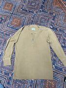 Vintage Type 1 Brown Thermal Henley Military Army Shirt Sz L Cotton Wool